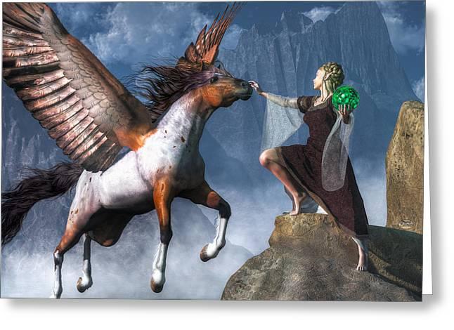 Dungeons Greeting Cards - Elf Summoning a Pegasus Greeting Card by Daniel Eskridge