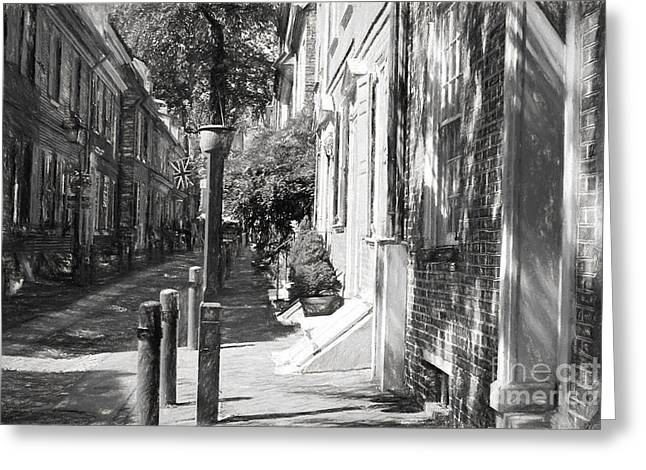 18th Century Greeting Cards - Elfreths Alley in Charcoal Greeting Card by Terry Weaver