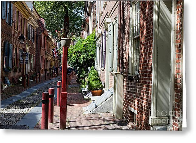 18th Century Greeting Cards - Elfreths Alley Greeting Card by Terry Weaver