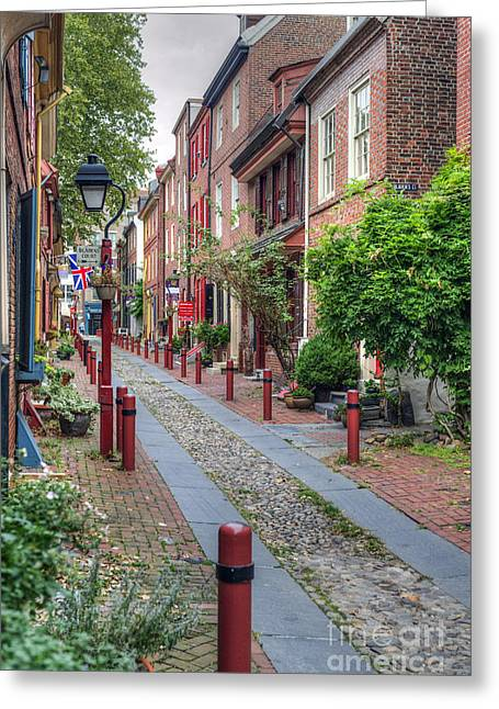 Quaker Greeting Cards - Elfrets Alley Vertical Greeting Card by David  Zanzinger