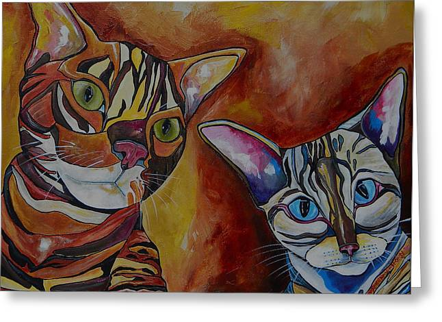 Rosettes Greeting Cards - Eli and Phoebe Greeting Card by Patti Schermerhorn