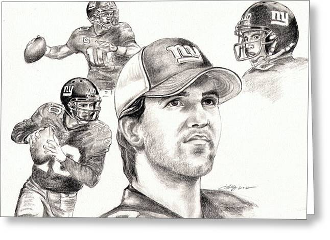 Graphite Greeting Cards - Eli Manning Greeting Card by Kathleen Kelly Thompson