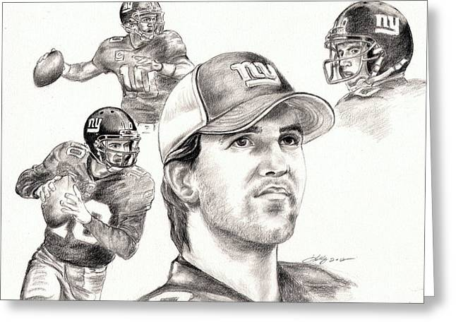 Eli Manning Greeting Card by Kathleen Kelly Thompson