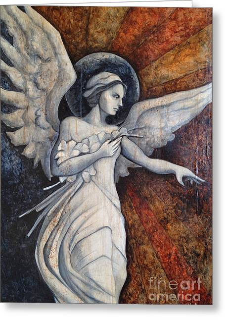 Guardian Angel Greeting Cards - Eliette Greeting Card by Dori Hartley