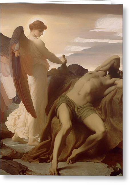 Man In The Wilderness Greeting Cards - Elijah in the Wilderness Greeting Card by Frederic Leighton
