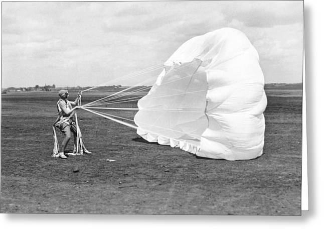 Record Breaker Greeting Cards - Elinor Smith Parachutes Greeting Card by Underwood Archives