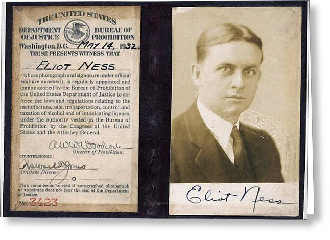 Crime Fighter Greeting Cards - Eliot Ness - Untouchable Chicago Prohibition Agent Greeting Card by Daniel Hagerman
