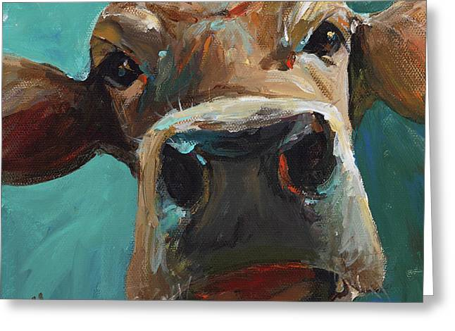 Bovine Greeting Cards - Elise the Cow Greeting Card by Cari Humphry