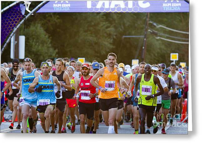 Footrace Greeting Cards - Elite Start at the Pikes Peak Marathon and Ascent Greeting Card by Steve Krull