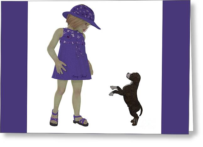 Preteen Greeting Cards - Eliza and Staffordshire Puppy Greeting Card by Corey Ford