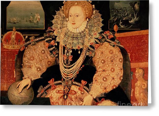 Royalty Greeting Cards - Elizabeth I Armada portrait Greeting Card by English School