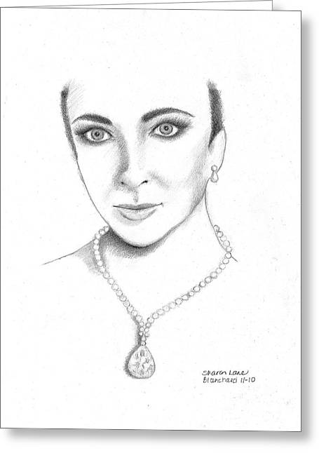 Tin Roof Drawings Greeting Cards - Elizabeth Taylor Greeting Card by Sharon Blanchard