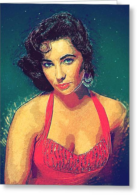 Liz Taylor Greeting Cards - Elizabeth Taylor Greeting Card by Taylan Soyturk