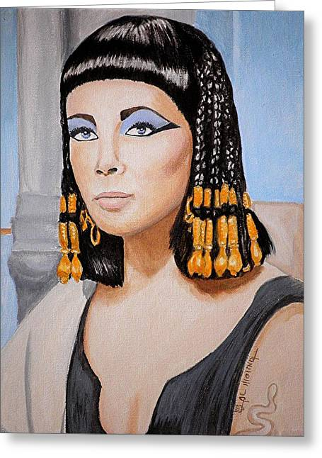 Classic Hollywood Paintings Greeting Cards - Elizabeths Cleopatra  Greeting Card by Al  Molina