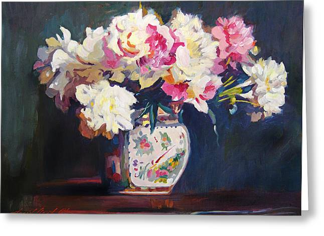 Floral Arrangement Greeting Cards - Elizabeths Peonies Greeting Card by David Lloyd Glover