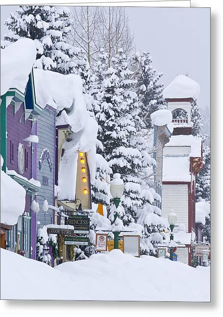 Ski Village Greeting Cards - Elk Avenue Snow Greeting Card by Dusty Demerson