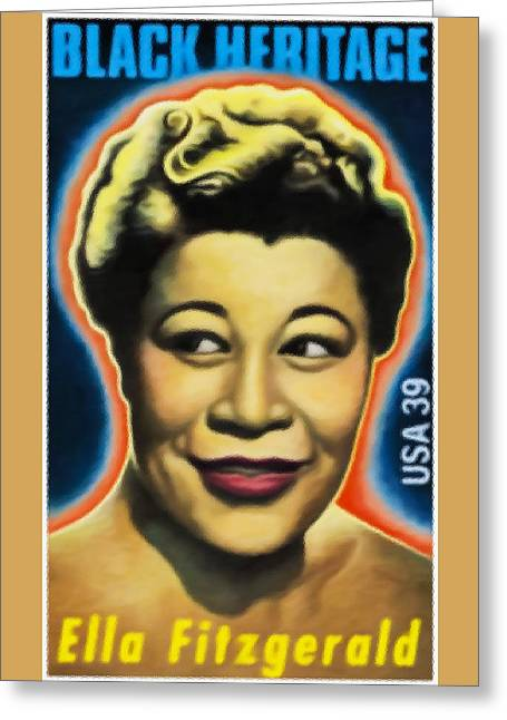 Women Only Paintings Greeting Cards - Ella Fitzgerald Greeting Card by Lanjee Chee