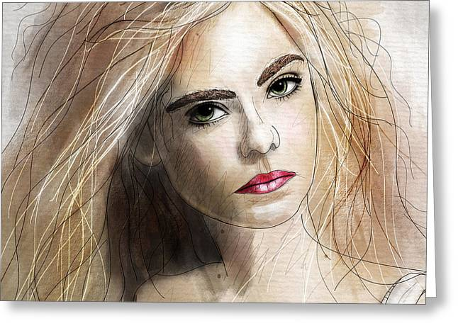 Girl Face Greeting Cards - Elle  Greeting Card by Gary Bodnar
