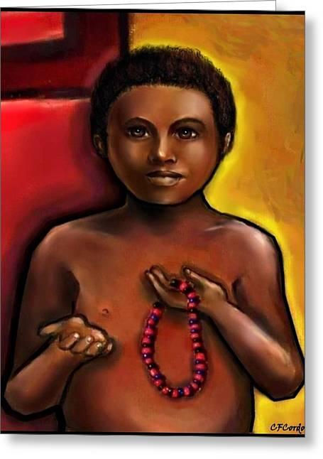 Santeria Saint Greeting Cards - Elegua -Gods Helper Greeting Card by Carmen Cordova