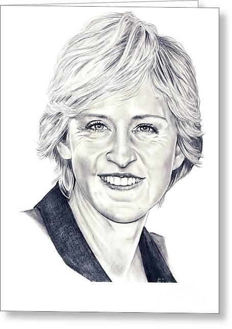 Ellen Degeneres Greeting Cards - Ellen DeGeneres Greeting Card by Murphy Elliott