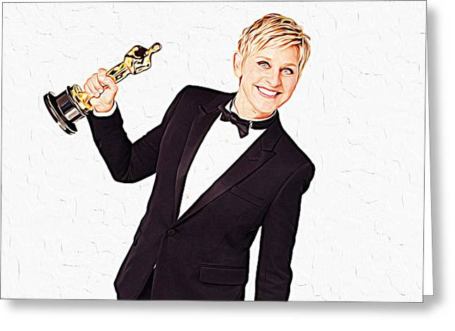 Ellen Degeneres Greeting Cards - Ellen DeGeneres Greeting Card by Queso Espinosa