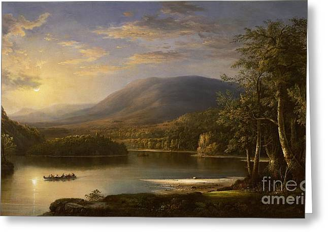 Calm Paintings Greeting Cards - Ellens Isle - Loch Katrine Greeting Card by Robert Scott Duncanson