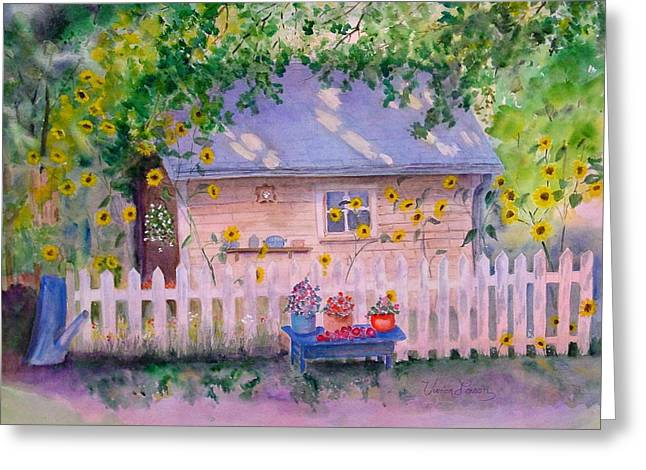 Potting Bench Greeting Cards - Ellens Potting Shed 2 Greeting Card by Vivian Larson