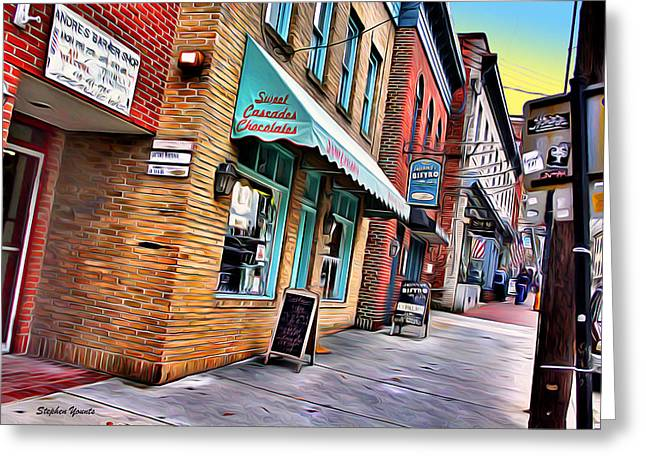 Ellicott Greeting Cards - Ellicott City Shops Greeting Card by Stephen Younts