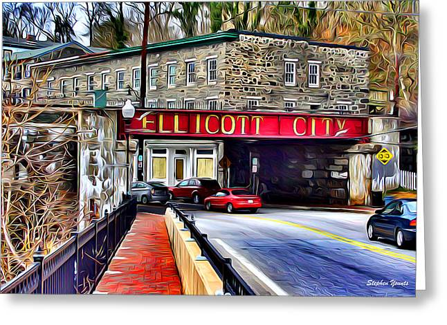 Downtown Digital Greeting Cards - Ellicott City Greeting Card by Stephen Younts