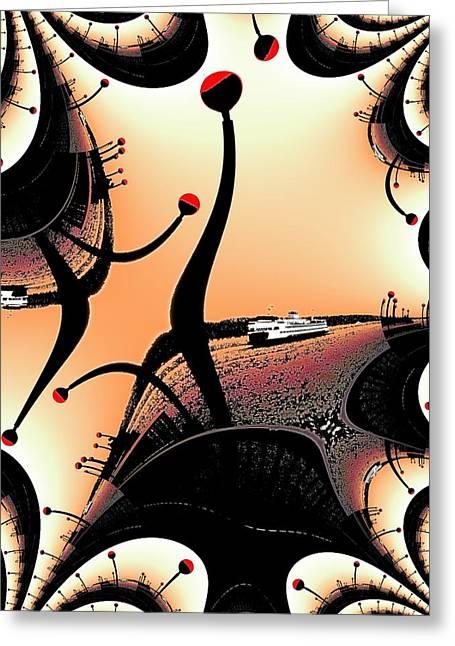 Tim Allen Greeting Cards - Elliott Bay Ferry Fractal Greeting Card by Tim Allen