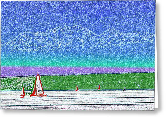 Olympics Pastels Greeting Cards - Elliott Bay Sail Greeting Card by Tim Allen