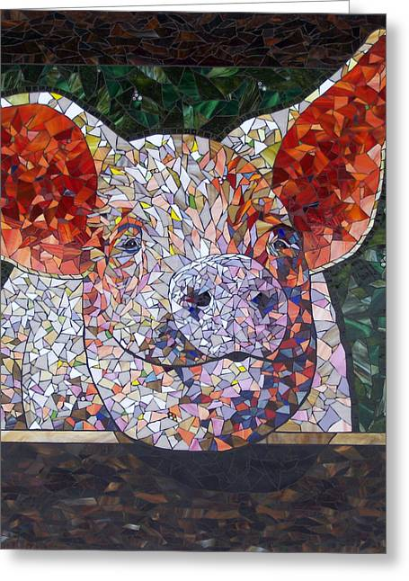 Mammals Glass Art Greeting Cards - Elmer Greeting Card by Barbara Benson Keith