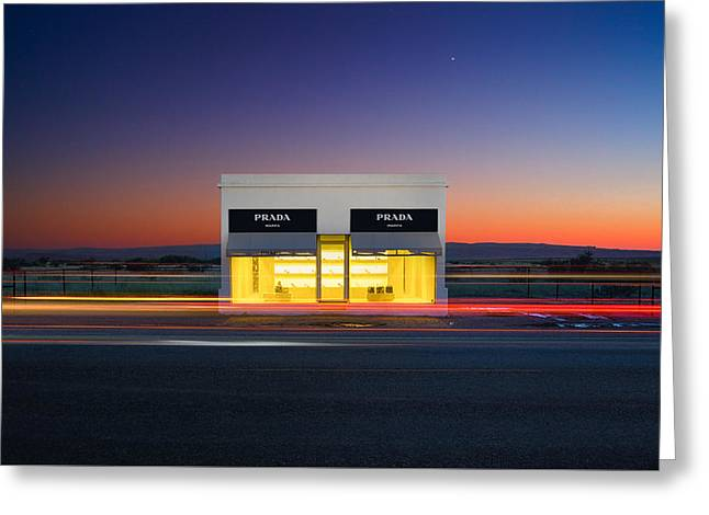 Installation Art Greeting Cards - Elmgreen and Dragset, Prada Marfa at Dusk Greeting Card by Stephen Masker