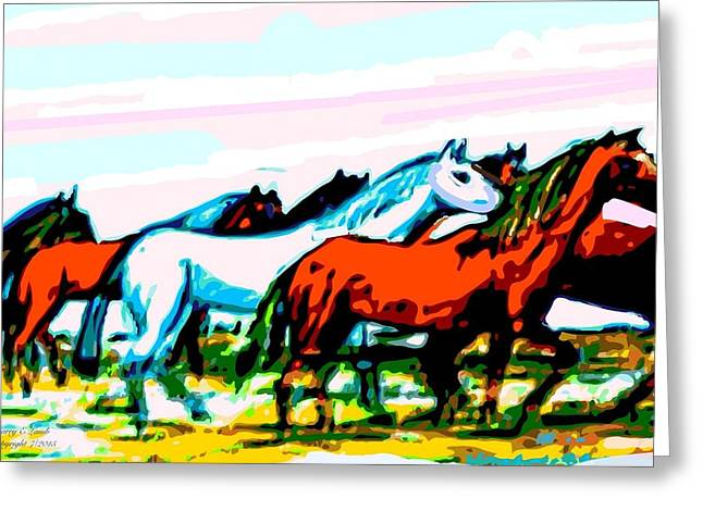 Matting Digital Greeting Cards - Elongated Art Deco Equestrian Pusuit Greeting Card by Larry E Lamb