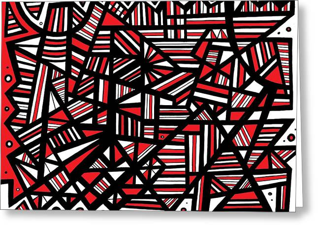 Hope You Enjoy . Greeting Cards - Eloquence Abstract Art Red White Black Greeting Card by Eddie Alfaro
