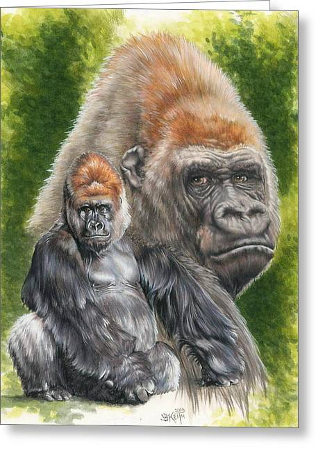 Gorilla Drawings Greeting Cards - Eloquent Greeting Card by Barbara Keith
