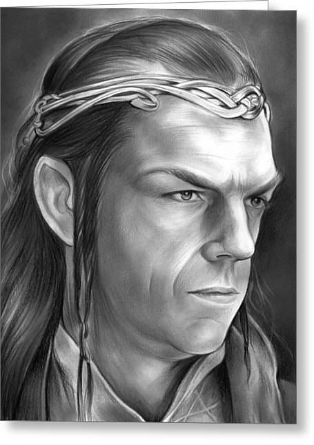 Lord Of The Rings Drawings Greeting Cards - Elrond Greeting Card by Greg Joens