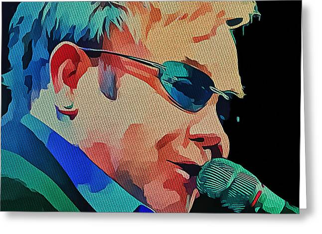Elton John Blue Eyes Portrait 2 Greeting Card by Yury Malkov