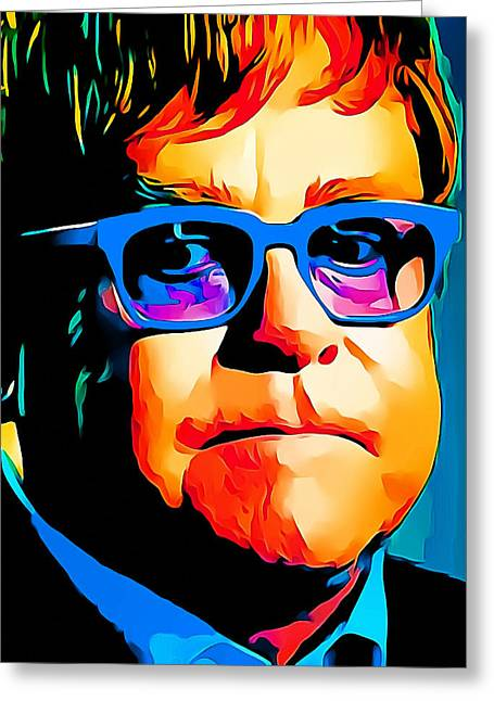 Elton John Blue Eyes Portrait Greeting Card by Yury Malkov