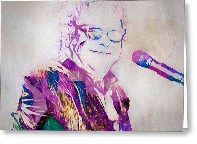 Elton John Greeting Card by Dan Sproul