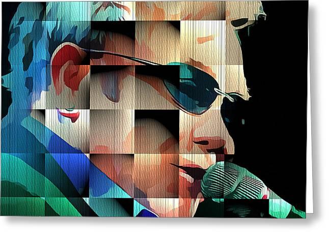 Elton John In Cubes 1 Greeting Card by Yury Malkov