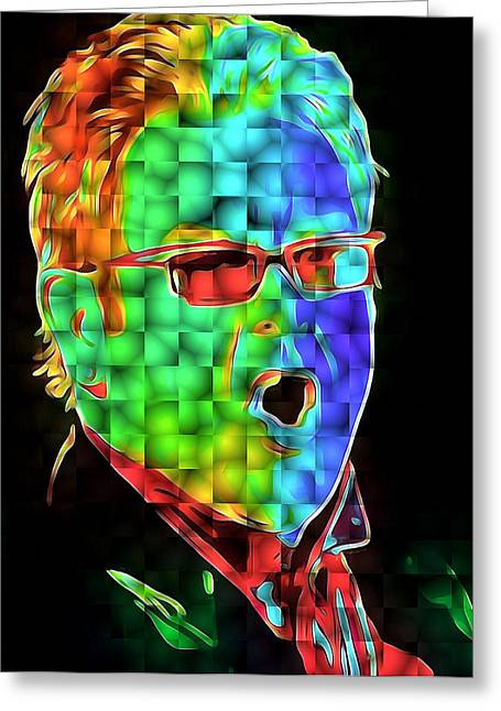 Elton John In Cubes 2 Greeting Card by Yury Malkov