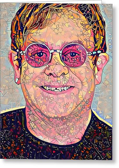 Elton John Triangles Portrait Greeting Card by Yury Malkov