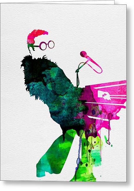 Disco Greeting Cards - Elton Watercolor Greeting Card by Naxart Studio