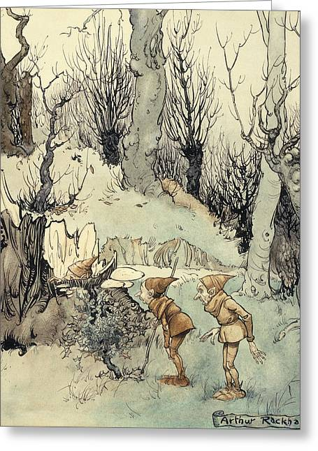 Fantasy Tree Greeting Cards - Elves in a Wood Greeting Card by Arthur Rackham