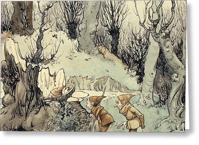 Elves in a Wood Greeting Card by Arthur Rackham