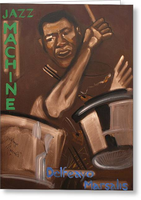 Elvin Greeting Cards - Elvin Jones Jazz Machine Greeting Card by Suzanne Giuriati-Cerny