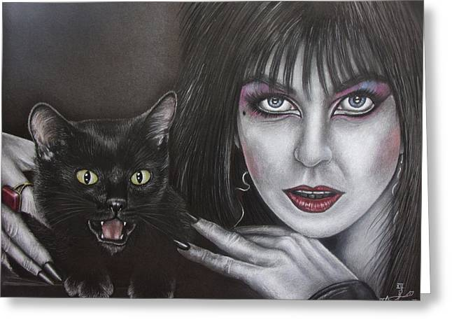 Elvira And Her Cat Greeting Card by Jonathan Anderson