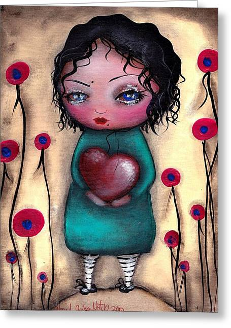 Outsider Art Paintings Greeting Cards - Elviras Heart  Greeting Card by  Abril Andrade Griffith