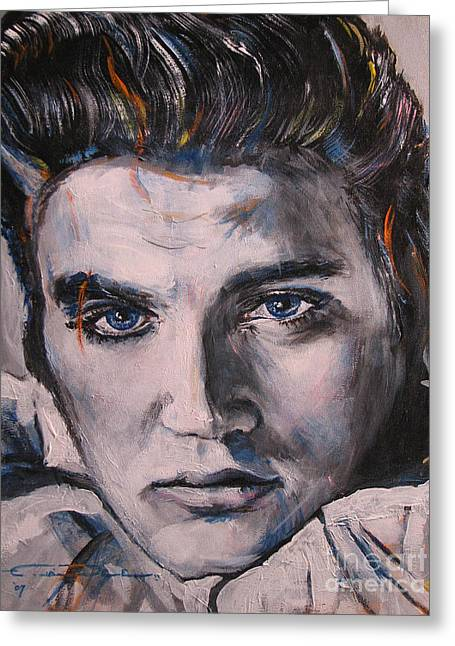 Presley Greeting Cards - Elvis 2 Greeting Card by Eric Dee